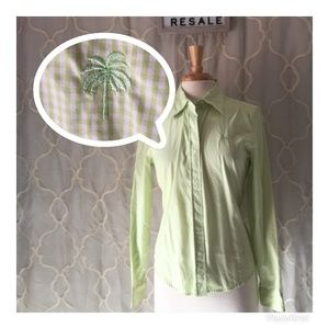 LILLY PULITZER GREEN WHITE GINGHAM BUTTON BLOUSE